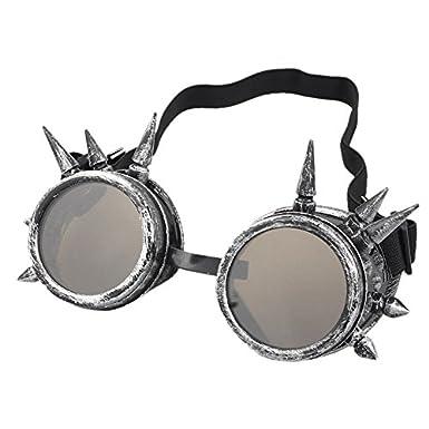 Happy-day Rivet Steampunk Windproof Mirror Vintage Gothic Lenses Goggles Glasses Gafas De Sol Fiesta Gafas De Sol Hombre Mujer: Amazon.es: Ropa y accesorios