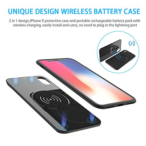 iPhone X Battery Case 5000mAh QI Wireless Charger power bank, 2in1 Rechargeable Extended Protective Charging Case for iPhone X, External Portable Battery Pack for Wireless Charging Devices (Black) by Feekea (Image #1)