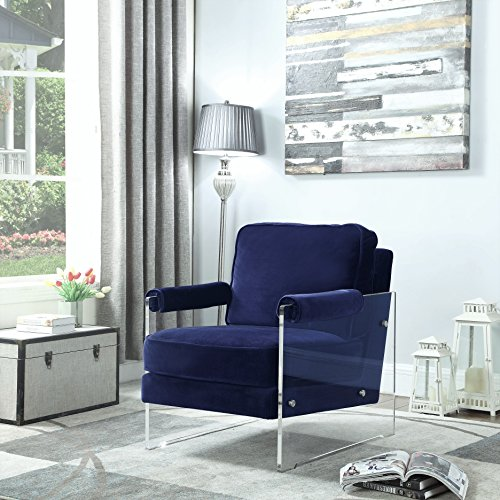 Iconic Home Logan Modern Contemporary Acrylic Frame Upholstered Arm Velvet Accent Chair, Navy