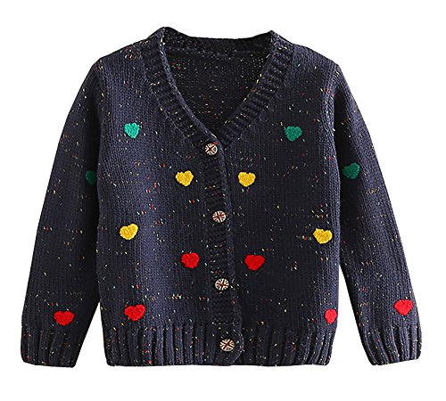 Abalacoco Girls Winter Knitted Cardigans Sweaters Coat Button Down Outwear 2-8 T (3-4 Years, Navy Blue) by Abalacoco