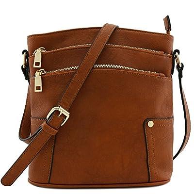 Triple Zip Pocket Medium Crossbody Bag