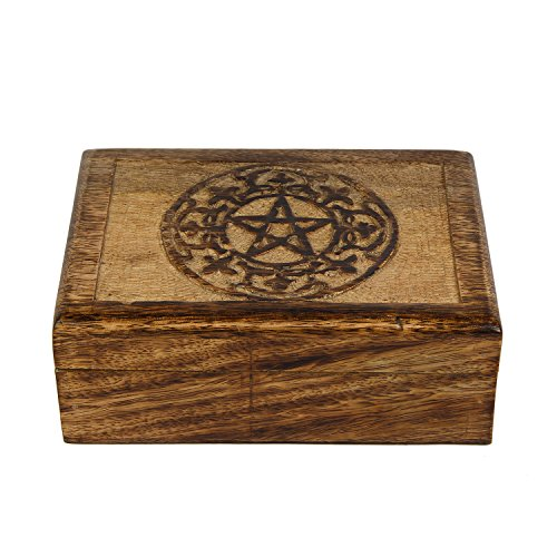 - Aheli Wooden Trinket Box Pentacle Design Jewelry Keepsake Decorative Box for Home Decor (7 x 5 inch)