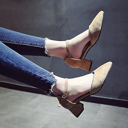 YMFIE La Moda de Verano Zapatos de Punta High Heels cómodas Correas de Tobillo Sandalias de Damas. b
