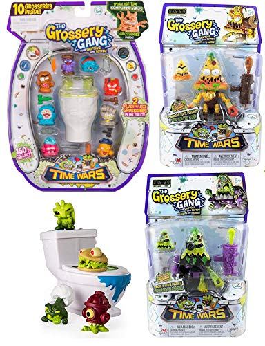 Flush N' Fizz Stinky Slimy Toilet Bizarre Flush Bathroom Rotten Attack Pack 4 Creature Bundle 10-Pack Gang Time Wars Computer Virus Edition & Pizza Potty Poop Character Figure & Blind Box Flush Force