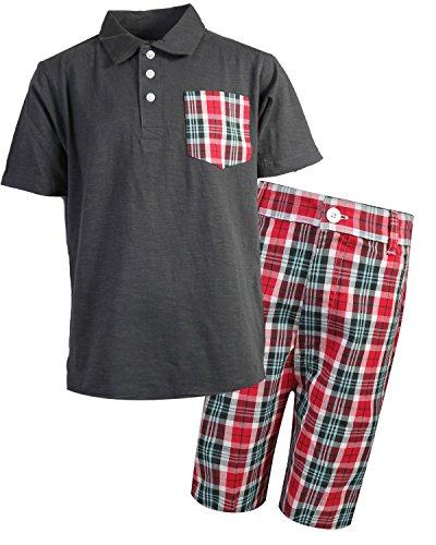 Quad Seven Boys Polo Top and Plaid Short Set, Charcoal Plaid, Size 12/14'