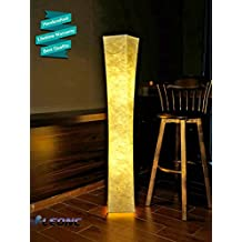 "LEONC 52"" Floor Lamp with Fabric Shade & 2 Bulbs for Bedroom Living room Warm Atmosphere (Slim Size: 7.8 x 7.8 x 52 inch)"
