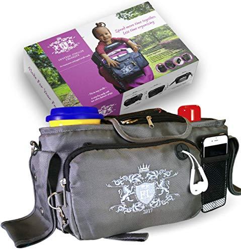 Universal Baby Stroller Organizer Bottle Cloth Diapers Holder Hanging Storage Bag (Grey)