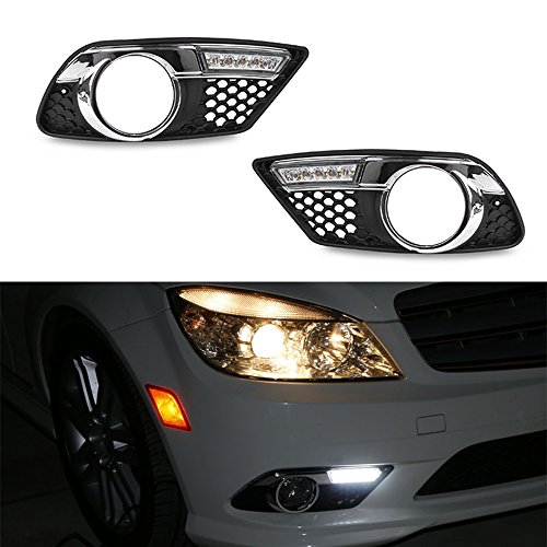 iJDMTOY 14W High Power OEM Fit LED Daytime Running Lights Kit For 2008 2009 2010 Mercedes W204 C300 C350 C-Class, Xenon White