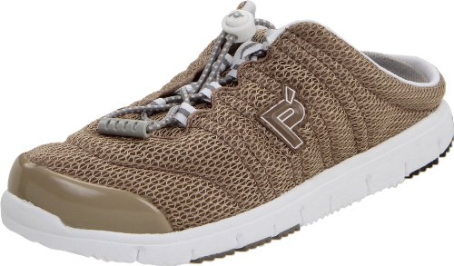 Propet Womens Travelwalker Slide Shoe Taupe Mesh