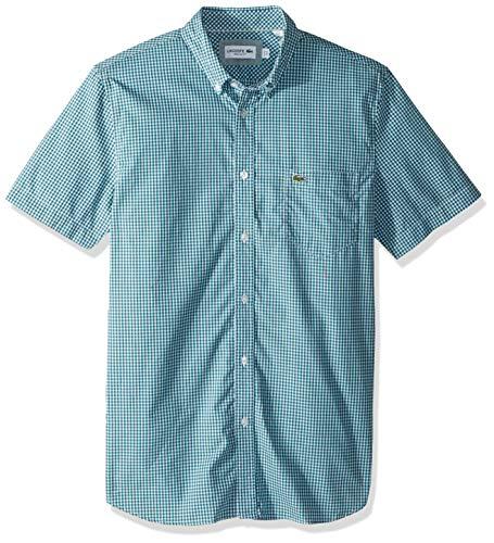 Lacoste Men's Short Sleeve REG FIT Gingham POPLIN Button Down, Bailloux/White, (Cotton Poplin Gingham Shirt)