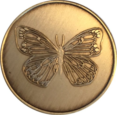 Bulk Lot of 25 Butterfly Bronze Sobriety Medallions Serenity Prayer Chips -
