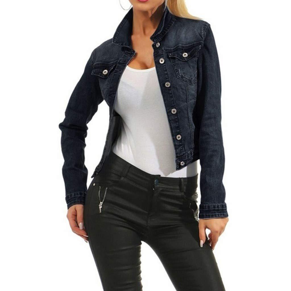 Sunsee Women Casual Fashion Denim Jacket Long Jean Coat Bead Outwear Overcoat New Halloween Christmas Coat