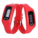 Fineshow Digital LCD Pedometer Run Step Walking Distance Calorie Counter Watch Bracelet Red