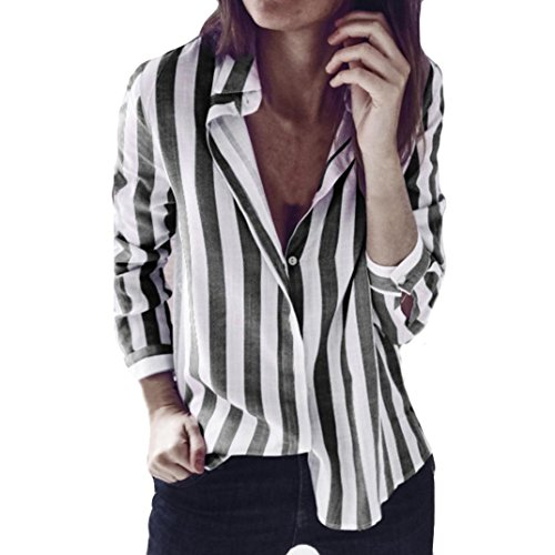 Forthery Womens Striped Casual Tops Long Sleeve Button Loose Tunic Shirt Blouse (Dark Gray, XL) ()