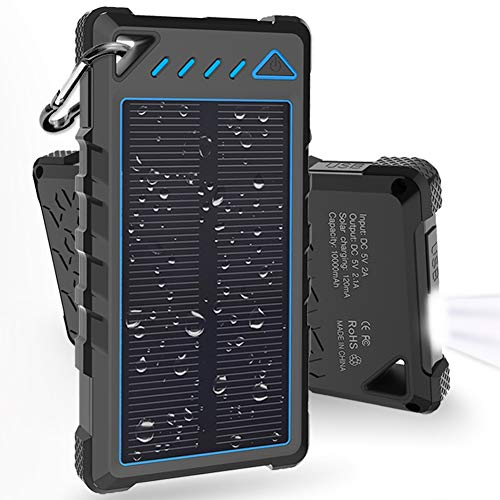 Hobest Solar Charger 10000mAh,Waterproof Outdoor Solar Power Bank with LED Flashlight,Dual USB Portable Charger Solar for Smartphones,GoPro Camera,GPS and Emergency Travel ()