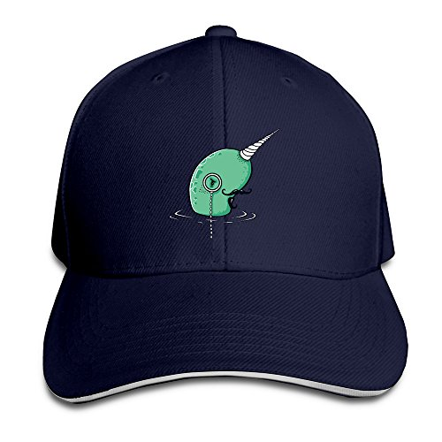 Pro-Style Cool Gentle Narwhals Papa Sandwich Peak Hats Adults Cap Navy ()