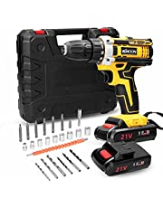 Electric Drill,21V Cordless Electric Drill Brush Motor 2 Speeds Adjustment 18 Gears of Torque Adjustable Holes Drilling Machine