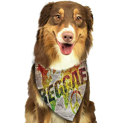 Colored pet Scarf Rasta World Map on Plaques with Reggae Lettering and Peace Symbol W27.5 xL12 Scarf for Small and Medium Dogs and Cats