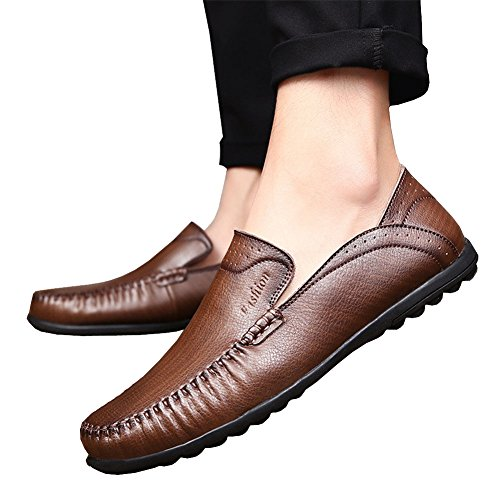 Loafers Lisianthus Mens Coffee Casual Mens Leather Slip On Lisianthus zpwFx0qHT