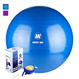 Middle Way Exercise Ball - 65cm blue -Yoga Ball - Pilates Ball - Gym Ball - Ideal as Yoga Ball - Workout Ball - Home Workout Ball