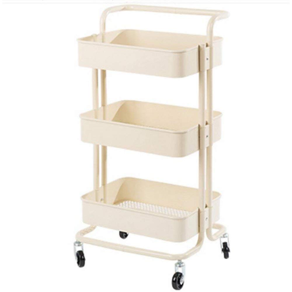 YUEQISONG Storage Rack Three Layers Iron Carbon Steel it Can Move Blue Gray Red White Kitchen, White