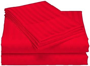 Scala Bedding Algodón Egipcio, 500 hilos, de 20 pulgadas Profundidad funda Juego de sábana bajera y almohada Tensiómetro para King de rojo rayas: Amazon.es: ...