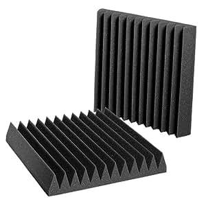 "Auralex Acoustics Studiofoam Wedgies Acoustic Absorption Foam, 2"" x 12"" x 12"", 24-Panels, Charcoal"