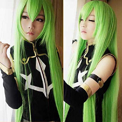 FidgetFidget Code Geass R2 C.C. 100cm Long Green Mixed Anime Cosplay Heat Resistent Wig H03
