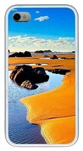 Beach Sand TPU White Case for iphone 4S/4