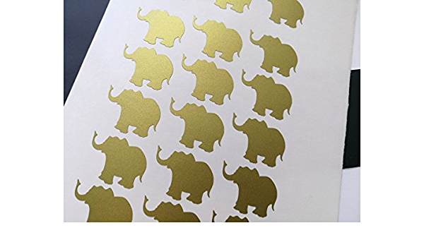 20 elephant stickers peel and stick Party d/écor cups invitations Wall Sticker sheets Decal Gold Silver Black Many Colors Crafts Scrapbooking Birthday Envelope Seals girl princess baby shower