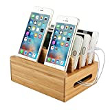 Charging Station, Moreslan Bamboo Charging Dock Multi-device Organizer Cord Phone Stand Holder for Smart Phones, iPad, iPhone, Tablets and Other Electronic Gadgets