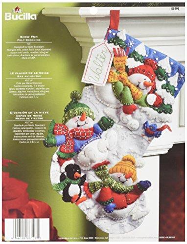 (Bucilla 18-Inch Christmas Stocking Felt Applique Kit, 86108 Snow Fun)