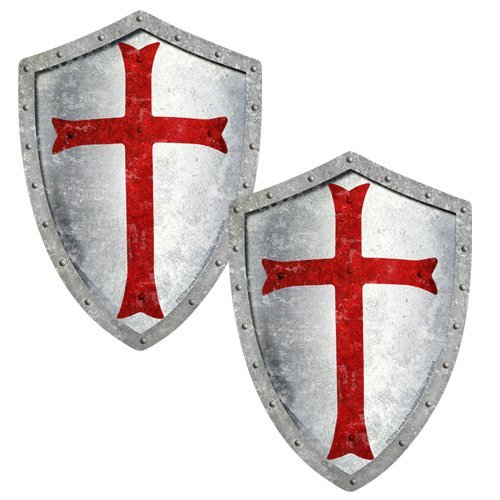 AZ House of Graphics Knights Templar GRUNGE Shield Stickers 2 Pack