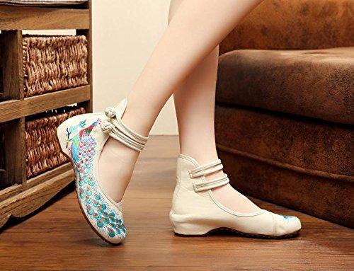 DESY Gestickte Schuhe, Sehnensohle, ethnischer Stil, weibliche Tuchschuhe, Mode, bequem, lässig innerhalb der Zunahme , beige , 35