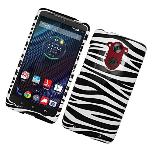 Insten Zebra Rubberized Hard Snap-in Case Cover Compatible with Motorola Droid Turbo, Black/White