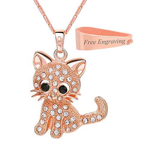 U7 Cat Jewelry Women Girls Link Fashion Platinum/18K Gold Plated Rhinestone Crystal Kitty Cat Pendant Necklace (Necklace Rose Gold with Custom Service)