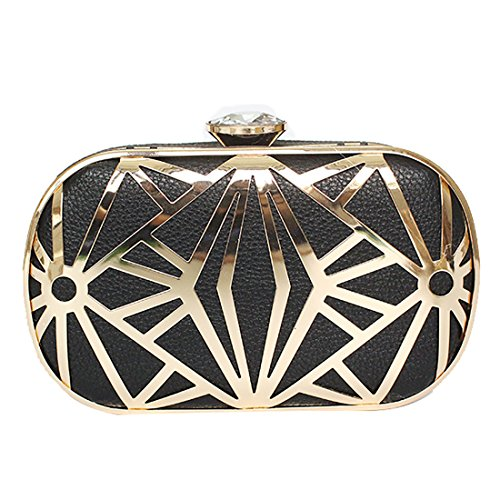 Womens Hard Case Metal Box Sequin Diamante Glitter Clutch Bag Evening Wedding Bridal Prom Clutches Ladies Handbag Black