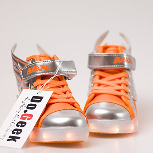 Wings Shoes children DoGeek Tennis Up Light Angel Girl Boy Shoes Shining Trainers Shoes LED Orange LED wTpXBqp