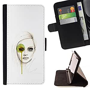 Momo Phone Case / Flip Funda de Cuero Case Cover - Pintura Mujer Fashion Art - HTC Desire 626