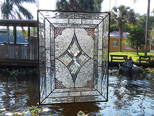 Traditional Stained Glass Window Panel, Beveled and Textured Glass, Unique Window Suncatcher, Stained Glass Transom Window