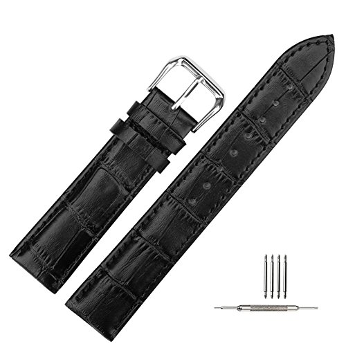 Genuine Calfskin Watch Band Crocodile-Embossed Leather Watch Band Replacement for Men and Women Black 24MM