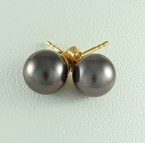 Ocean Black Pearl - Boucles d'oreilles Femme - Perles de culture de Tahiti - 8mm - Or 18 Carats - Bo P32