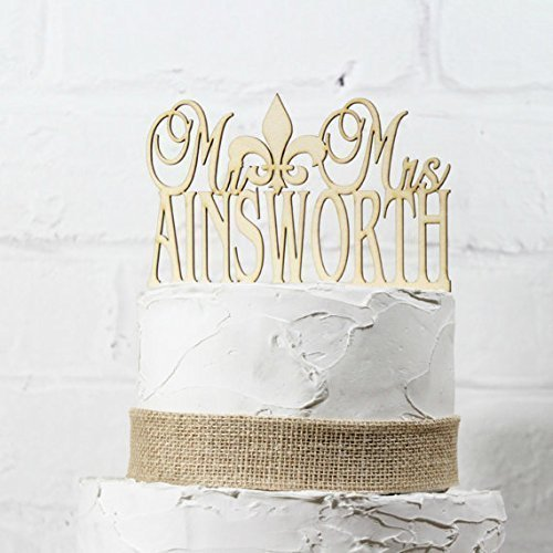 Rustic Wedding Cake Topper Monogram Mr Fleur de Lis Mrs Topper New Orleans Design Custom Personalized with YOUR Last Name Paintable Stainable Wood