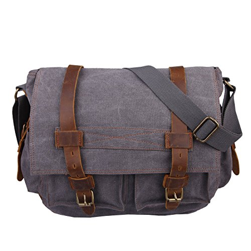 Field Womens Bag (HDE Vintage Canvas Messenger Bag Leather Military Tactical Style Travel Shoulder Field Bag fits 15 Inch Laptop)
