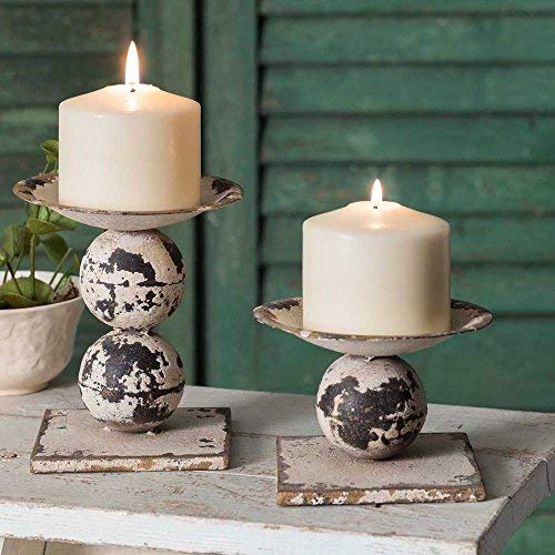 CTW Distressed Antiqued White Set of Two Spheres Pillar Candle Holders ()