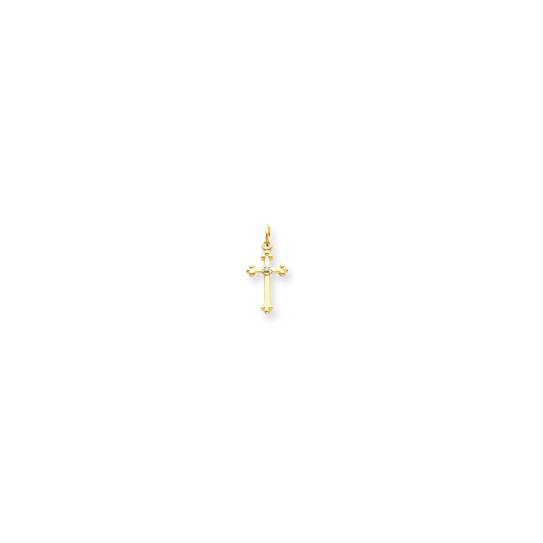 Roy Rose Jewelry 14K Yellow Gold Small AA Diamond Budded Cross Pendant