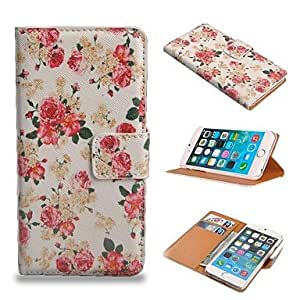 YULIN Flower Pattern PU Leather Full Body Wallet Case with Stand and Card Slot Holder Function for iPhone 6