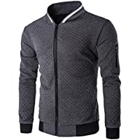 Men Jacket, ღ Ninasill ღ Autumn&Winter Plaid Cardigan Zipper Sweatshirt Tops Jacket Coat (S, Dark Gray)