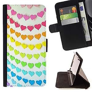 For Apple iPhone SE / iPhone 5 / iPhone 5S Case , Modelo del arco iris anaranjado rosado del trullo línea de papel- la tarjeta de Crédito Slots PU Funda de cuero Monedero caso cubierta de piel