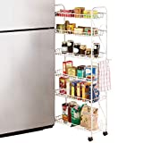 """Slim Rolling Pantry 6-Tier Shelf, White Metal with Elegant Scroll Design Accent - Extra Kitchen and Bathroom Storage, 10"""""""